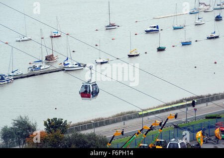 London, UK, 22 October 2015, aerial view of the Emirates Air Line terminal in North Greenwich next to the O2 dome. - Stock Photo