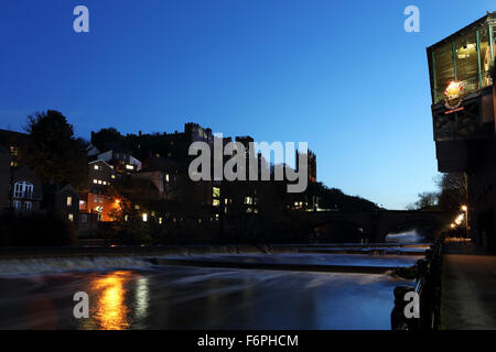 Night on the River Wear in Durham, UK. - Stock Photo