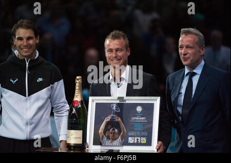 O2 arena, London, UK. 18th November, 2015. Barclays ATP World Tour Finals Tennis 2015. Lleyton Hewitt, who will - Stock Photo