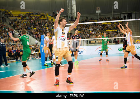 Lodz, Poland. 18th November, 2015. Nicolas Marechal of PGE Skra Belchatów pictured during the game against Cucine - Stock Photo