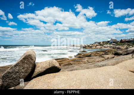 Punta del Diablo Beach, popular tourist and surfers place in Uruguay - Stock Photo