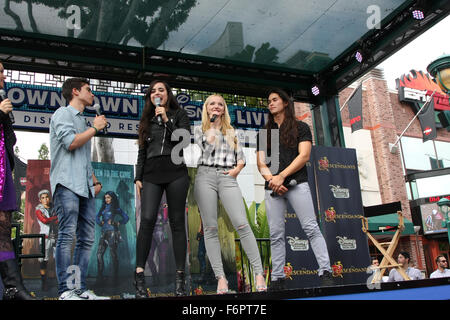 'Descendants' perform and join fans at Downtown Disney at Disneyland Resort  Featuring: Cameron Boyce, Sofia Carson, - Stock Photo