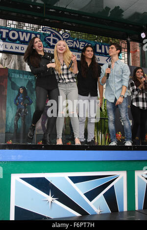 'Descendants' perform and join fans at Downtown Disney at Disneyland Resort  Featuring: Sofia Carson, Dove Cameron, - Stock Photo