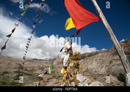 Buddhist chorten, overlooking Nako, Himachal Pradesh, Northern India - Stock Photo