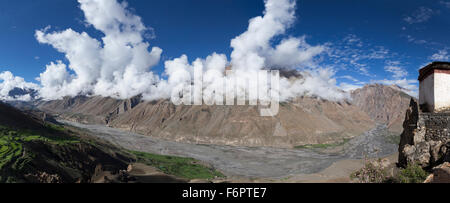 View across the Spiti Valley from Dhankar in the Himalayan region of Himachal Pradesh, India - Stock Photo