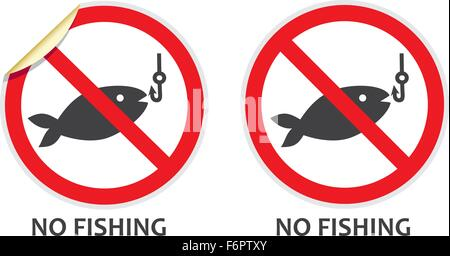 No fishing signs in two vector styles depicting banned activities - Stock Photo
