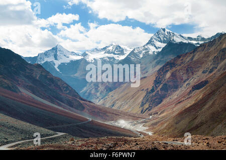 Himalayan landscape in Himalayas along Manali-Leh highway. Himachal Pradesh, India - Stock Photo