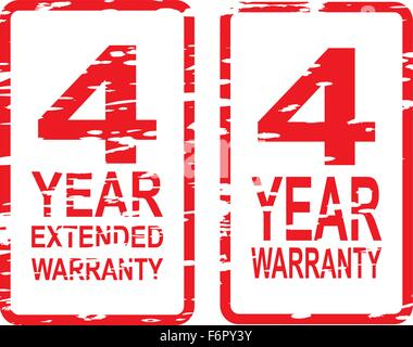 Red rubber stamp vector for 4 year warranty and extended warranty business concept - Stock Photo