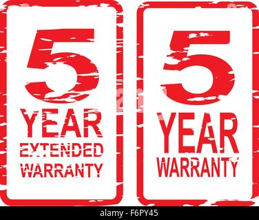 Red rubber stamp vector for 5 year warranty and extended warranty business concept - Stock Photo