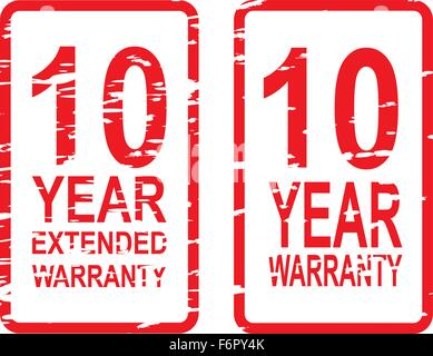 Red rubber stamp vector for 10 year warranty and extended warranty business concept - Stock Photo
