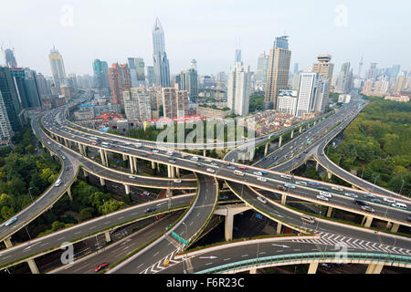 Shanghai, China: October 10, 2015. Elevated view of a Road Junction in Shanghai. - Stock Photo