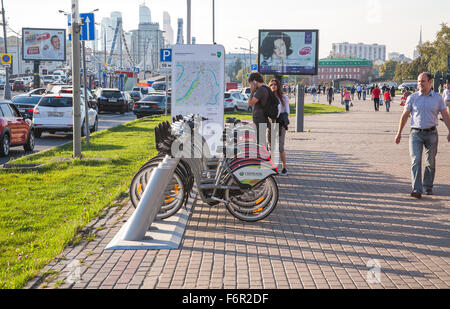 Moscow, Russia - September 25, 2015:  Garden Ring and Krymskaya Embankment. Point of a bicycle rental. - Stock Photo