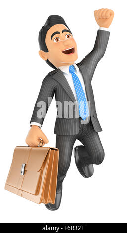 3d business people. Businessman jumping for joy. Success. Isolated white background. - Stock Photo