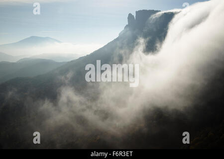 Fog. Salt Sallent waterfall. Rupit. Osona Region. Barcelona. Cataluña. Spain. Europe - Stock Photo