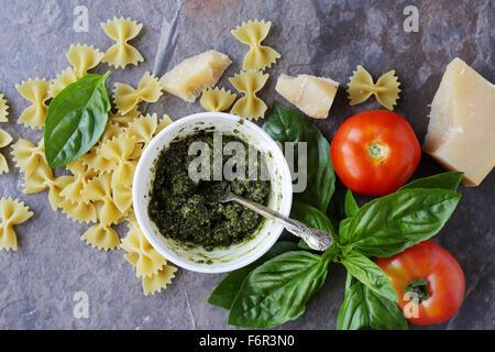 italian pasta ingredients on slate - Stock Photo