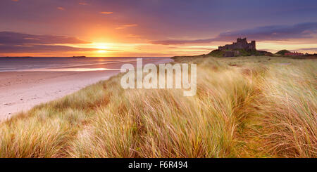 Sunrise over the dunes at Bamburgh, Northumberland, England with the Bamburgh Castle in the background. - Stock Photo
