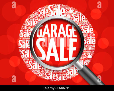 GARAGE SALE word cloud with magnifying glass, business concept - Stock Photo