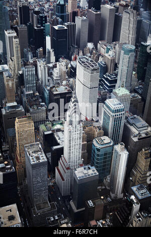 Overhead view of the Empire State Building taken from a helicopter flight over Manhattan, NYC. - Stock Photo