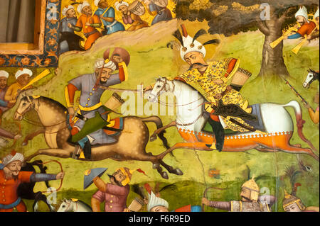 Fresco, Shah Ismail on a white horse at the battle of Taher Abad, 1510, against the Uzbeks in Merv, Chehel Sotoun - Stock Photo