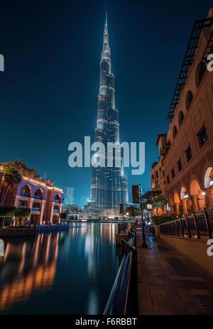 Burj Khalifa from Souk Al Bahar - Stock Photo