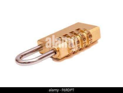 Combination padlock isolated on white background - Stock Photo