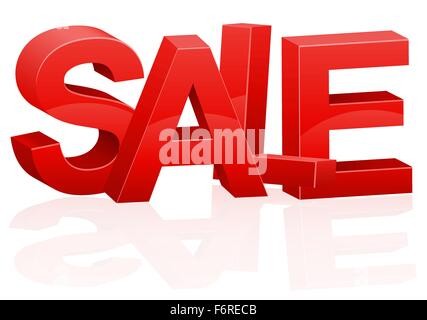 three-dimensional volumetric red inscription sale vector illustration isolated on white background - Stock Photo