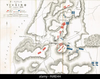 Map of the Battle of Vimeiro in 1808 - Stock Photo