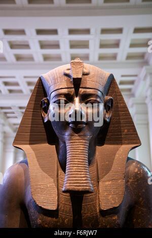 Statue of King Amenhotep III, 1400 BC, British Museum, London, UK - Stock Photo
