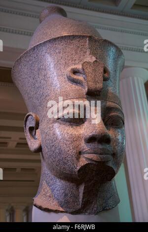 Head of Colossal Figure of King, 1390 BC, British Museum, London, UK - Stock Photo