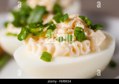 Close-up of boiled eggs with mayonnaise and sliced chive on plate - Stock Photo