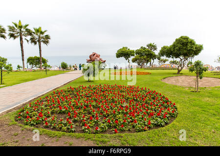 Upscale hotel and Inviting Courtyard and garden on lake Titikaka, Peru in South America - Stock Photo