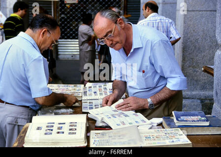 The Sunday Stamp and Coin market in Plaza Mayor. Madrid. Spain - Stock Photo