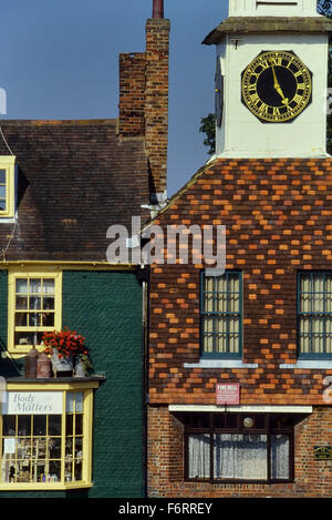 The clock tower above Market House. Steyning. West Sussex. England. UK. Europe - Stock Photo