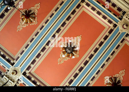 The Louth Town Hall decorative ceiling. East Lindsey. Lincolnshire. England. UK. Europe - Stock Photo
