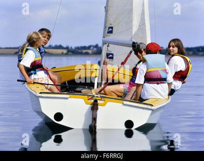 Children sailing on Grafham water. Huntingdon. Cambridgeshire. England. UK - Stock Photo