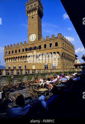 The Palazzo Vecchio seen from the Uffizi Gallery Cafeteria terrace, Florence. Italy, Europe - Stock Photo