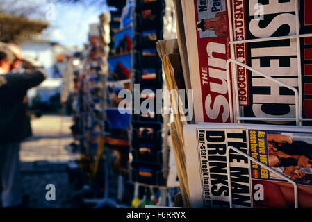 British tabloid newspapers for sale in Albufeira the Algarve. Portugal. Europe - Stock Photo