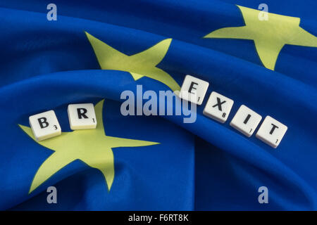 Brexit concept. European Union flag with letters Brexit. In reference to the UK referendum on leaving Euro Zone. - Stock Photo