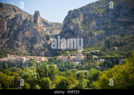 Moustiers-Sainte-Marie village view in Provence, France. Summer landscape - Stock Photo
