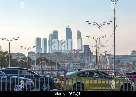 Moscow, Russia - September 25, 2015:  View of Krymsky Bridge and Moscow city from the Garden ring. - Stock Photo