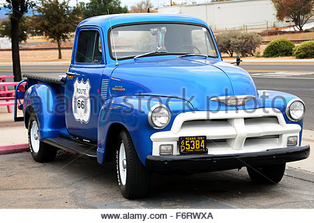 Chevy truck parked in the entrance of a bar in Kingsman, Arizona on the Route 66 - Stock Photo