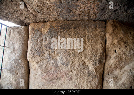 Dolmen de Menga, bronze-age burial chamber (dolmen), Antequera, Málaga - Stock Photo
