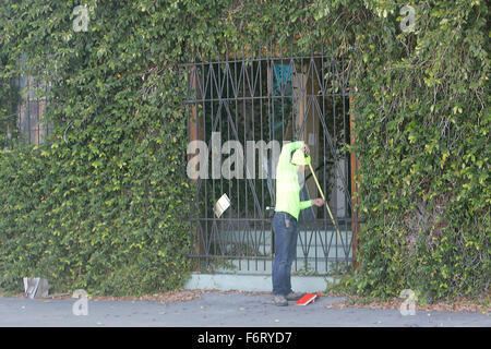 12, 2015   Napa, CA, U.S.   A Worker Takes Measurements