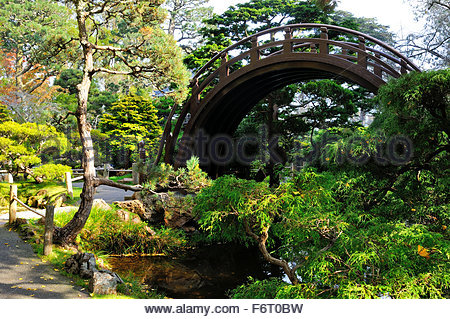 Circle bridge in the middle of the Japanese Garden of the Golden Gate Park in San Francisco, California - Stock Photo