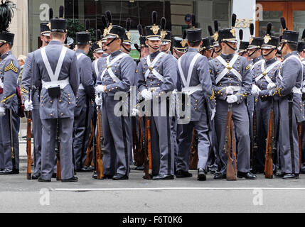 A group of West Point cadets assemble prior to the start of the Veteran's Day Parade in New York City. - Stock Photo