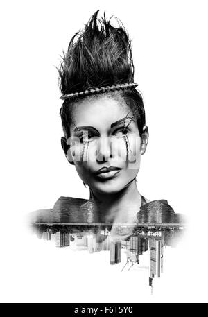 Double exposure of a woman with creative make-up and city skyscrapers - Stock Photo