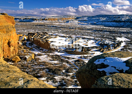 Aerial view of Pueblo Bonito under snow, Chaco Culture National Historic Park, New Mexico USA - Stock Photo