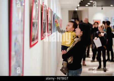 Moscow. 19th Nov, 2015. People visit exhibition of the book in Chinese cultural center in Moscow, Russia, on Nov, - Stock Photo