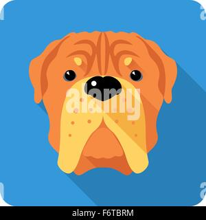 dog  French Mastiff icon flat design - Stock Photo