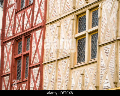 Timber frame facade in Montrichard. These timber framed houses date from the second half of the 15th century. - Stock Photo
